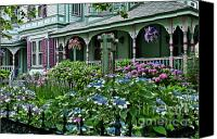 American Flag Canvas Prints - Cape May house and garden. Canvas Print by John Greim