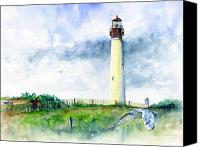 May Canvas Prints - Cape May Lighthouse Canvas Print by John D Benson
