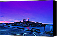 Rick Blood Canvas Prints - Cape Neddick Light HDR Canvas Print by Rick  Blood