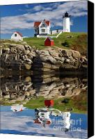 American Flag Canvas Prints - Cape Neddick Reflection - D003756a Canvas Print by Daniel Dempster