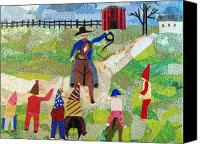 Rural Scenes Tapestries - Textiles Canvas Prints - Capitaine de Mardi Gras Canvas Print by Charlene White