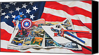 American Flag Pastels Canvas Prints - Captain America Canvas Print by Joanne Grant