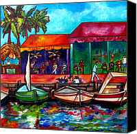 Tropical Beach Painting Canvas Prints - Captains Walk Canvas Print by Patti Schermerhorn