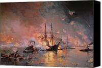 On Fire Canvas Prints - Capture of New Orleans by Union Flag Officer David G Farragut Canvas Print by Julian Oliver Davidson