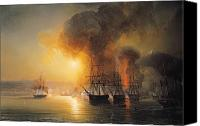 Gunfire Canvas Prints - Capture of the Fort of Saint Jean dUlloa on 23rd November 1838 Canvas Print by Jean Antoine Theodore Gudin