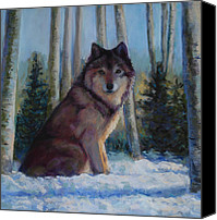 Wolf Pastels Canvas Prints - Captured by the Light Canvas Print by Billie Colson