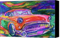 Car Hod Canvas Prints - Car and Colorful Canvas Print by Evelyn Sprouse Rowe