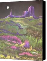 Moonlight Pastels Canvas Prints - Carcassonne in Moonlight Canvas Print by Marilyn Williscroft