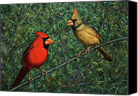 Couple Painting Canvas Prints - Cardinal Couple Canvas Print by James W Johnson