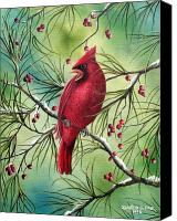 Winter Canvas Prints - Cardinal Canvas Print by David G Paul
