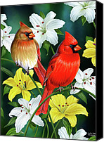 Garden Painting Canvas Prints - Cardinal Day 2 Canvas Print by JQ Licensing