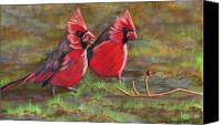 Two Pastels Canvas Prints - Cardinal Two Canvas Print by Tracey Hunnewell