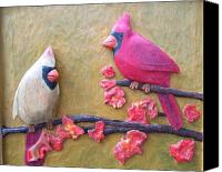 Wildlife Art Reliefs Canvas Prints - Cardinals on Cherry Wood Canvas Print by Michael Pasko