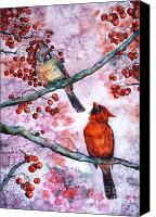Ornithology Canvas Prints - Cardinals  Canvas Print by Zaira Dzhaubaeva