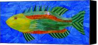 Mosaic Glass Art Canvas Prints - Caribbean Grouper Canvas Print by Charles McDonell