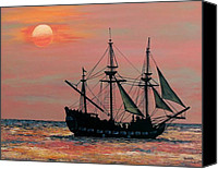 Maya Canvas Prints - Caribbean Pirate Ship Canvas Print by Susan DeLain