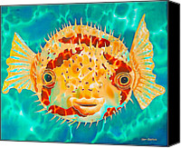 Silk Postcard Tapestries - Textiles Canvas Prints - Caribbean Puffer Canvas Print by Daniel Jean-Baptiste