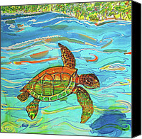 Island Tapestries - Textiles Canvas Prints - Caribbean Sea Turtle  Canvas Print by Kelly     ZumBerge