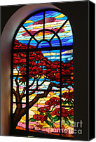 Tree Blossoms Glass Art Canvas Prints - Caribbean Stained Glass  Canvas Print by Alice Terrill