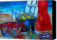 Crab Canvas Prints - Caribe and Crab Canvas Print by Patti Schermerhorn