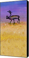 Dyes Tapestries - Textiles Canvas Prints - Caribou on the Tundra 2 Canvas Print by Carolyn Doe
