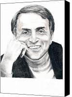 Pencil Drawing Canvas Prints - Carl Sagan Canvas Print by Murphy Elliott