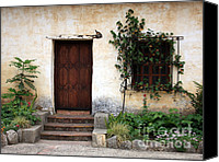 Stucco Canvas Prints - Carmel Mission Door Canvas Print by Carol Groenen