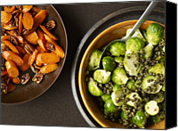 Buffet Canvas Prints - Carmelized Carrots And Brussel Sprouts Canvas Print by James Baigrie