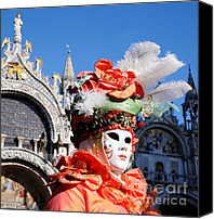 Marco Mixed Media Canvas Prints - Carnavale di Venezia III Canvas Print by Louise Fahy
