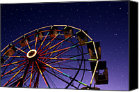 Christmas Carnival Canvas Prints - Carnival Ferris Wheel Against Starry Night Sky Canvas Print by Heather Cate Photography