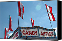Fun Fair Canvas Prints - Carnival Festival Fair Candy Apples and Flag Stand Canvas Print by Kathy Fornal