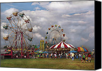 Green Canvas Prints - Carnival - Traveling Carnival Canvas Print by Mike Savad