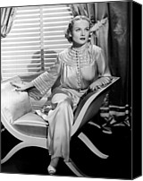 Pajamas Canvas Prints - Carole Lombard, Sitting, In A 1930s Canvas Print by Everett