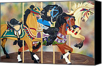 Buckskin Canvas Prints - Carousel Beauties Canvas Print by Debbie LaFrance