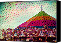 Tent Digital Art Canvas Prints - Carousel Dots Canvas Print by Sonja Quintero