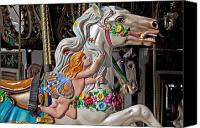 Ride Canvas Prints - Carousel horse and angel Canvas Print by Garry Gay