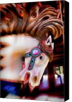 Pony Canvas Prints - Carousel horse portrait Canvas Print by Garry Gay