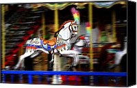 Round Special Promotions - Carousel Horse Canvas Print by Tom Bell