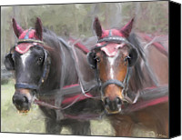 Cart Driving Canvas Prints - Carriage Horses Pleasure Pair Canvas Print by Connie Moses