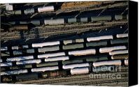 Public Transportation Canvas Prints - Carriages of freight trains on a commercial railway Canvas Print by Sami Sarkis
