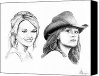 Cowgirl Drawings Canvas Prints - Carrie and Carrie Underwood Canvas Print by Murphy Elliott