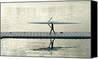 Solitude Canvas Prints - Carrying Single Scull Canvas Print by Lynn Koenig