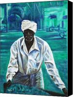 Vendor Painting Canvas Prints - Cart Vendor Canvas Print by Usha Shantharam