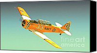 T-6s Reno Air Races Canvas Prints - Carter Clark and T-6 Texan Race 33 Midnight Rendevous Canvas Print by Gus McCrea
