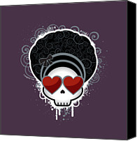 Hairstyle Photo Canvas Prints - Cartoon Skull With Hearts As Eyes Canvas Print by Sherrie Thai
