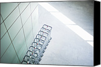 Airport Terminal Canvas Prints - Carts Stacked Together In Airport Canvas Print by Cultura/Luc Beziat