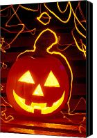 Celebrations Canvas Prints - Carved pumpkin smiling Canvas Print by Garry Gay
