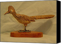 Woodcarving Sculpture Canvas Prints - Carved Roadrunner Canvas Print by Russell Ellingsworth