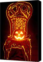 Celebrations Canvas Prints - Carved smiling pumpkin on chair Canvas Print by Garry Gay