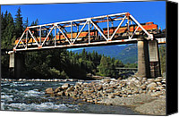 River Transportation Canvas Prints - Cascades Rail Bridge Canvas Print by Benjamin Yeager
